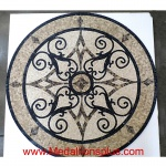 "KRISTINE II, 36"" Mosaic Floor Medallion - Honed"